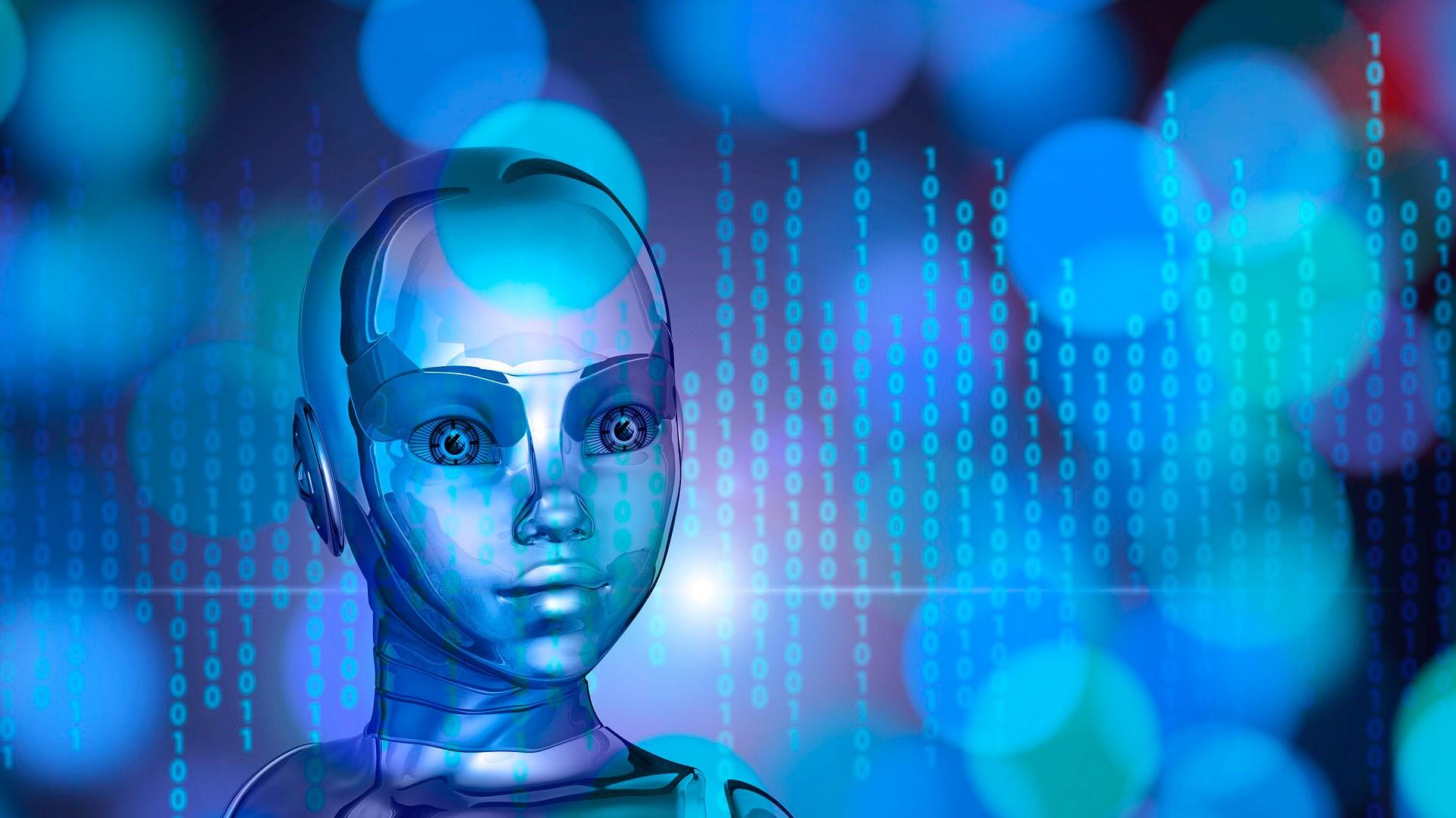 Un muñeco con número y letras alrededor simbolizando la Inteligencia artificial