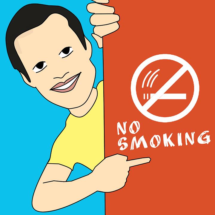Muñeco señalando NO FUMAR